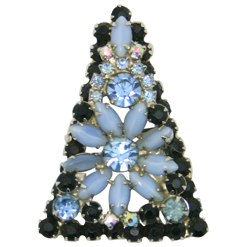 Vintage Juliana (D&E) Black & Blue Moonstone Rhinestone Framed Flower Brooch / Pendant