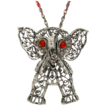 Vintage Red Cabochon Eyes Articulated Elephant Necklace