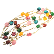 Vintage Lucite Matinee' Length Necklace Of Many Colors