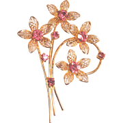 Vintage Pink Rhinestone Filigree Pin Brooch