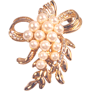 Vintage GoldTone Imitation Pearls,  Crystals Bow Pin Brooch