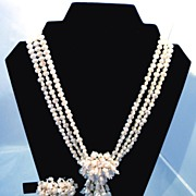 Stunning Vintage Faux Pearl Necklace Earrings Bracelet (bracelet redone)