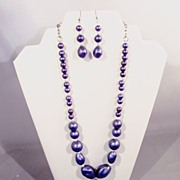 Vintage Purple Dangle Beads Necklace & Earrings, Redone