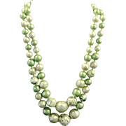 Vintage Japan Green 2 Strands Glass Bead Necklace