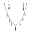 White Silvertone Chain And Platinum Glass Faux Pearl Drop Beads With Diamond Shape Crystals