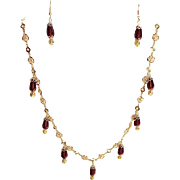 Stunning Burgundy Red Czech Glass Pearl Tear Drops Set