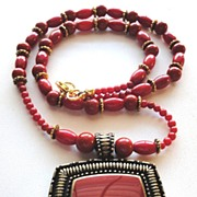 SALE Red Bamboo Coral Beads Pendant Necklace and Earrings Set