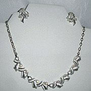 REDUCED Vintage Delsa Signed AB Rhinestones Necklace and Earrings