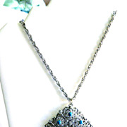 Vintage Silver Tone and Faux Turquoise Filigree Pendant Necklace