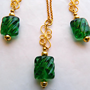 Lampwork Glass Beads With Waves of Emerald Green Necklace Earrings