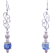 Silver Plated and Glass Pearls With Sapphire Color Drop Beads Earrings