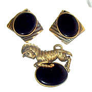 Vintage Antiqued Brass Zebra Brooch With Geometric Earrings Set