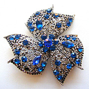Vintage Filigree Bow Flower Brooch with Blue Rhinestones