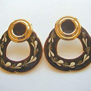 Vintage Enameled Brown Hoop Shaped Pierced Earrings