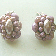 Vintage Mauve Pink Lucite Beads Earrings
