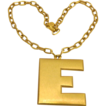 Crown Trifari Block Letter E necklace and chain