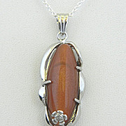 Silver Plated Pendant Chain and Matching Earrings Brown GoldStone