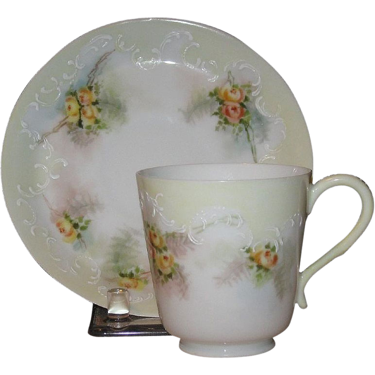 1897 Eggshell Porcelain Demitasse Set, Pouyet, Limoges, France
