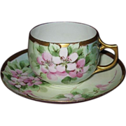 Hand Painted Apple Blossoms, Artist Signed Cup & Saucer Set, Circa 1900, Eggshell Porcelain