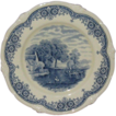 W H Grindley Blue on White 9&quot; Porcelain Plate, From Scenes After Constable Series: The Hay Wain