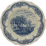 "W H Grindley Blue on White 9"" Porcelain Plate, From �Scenes After Constable� Series: The"