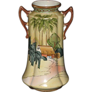 Vintage Hand Painted Double-Handled Japanese Vase with Egyptian Styling; �Bi Bi� Mark