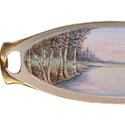 R/S Germany Celery Dish, Unusual Hand Painted Landscape, Artist Signed, 1925