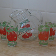 Anchor Hocking Round Tip Pitcher, Hand Painted Tomatoes, 4 Glasses