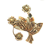 Walter Lampl Brooch PIN 1/20 12k  GF 1940s RARE Rose Gold DECO