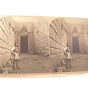 "STEREOVIEW 'Entrance To The Tomb Of Agamemnon, conquerer of Troy, Mycene, Greece"" Underwo"