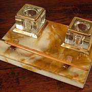 SALE Early Vintage Marble Inkstand, Circa 1920
