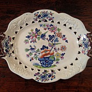SALE Early 19th Century English Opaque China Ironstone Pierced Platter, Circa 1830