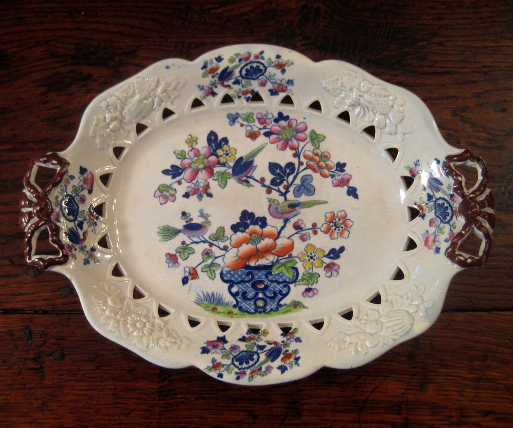 Early 19th Century English Opaque China Ironstone Pierced Platter, Circa 1830