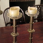 SALE Pair Of 19th Century Gilt Bronze Altar Candlesticks