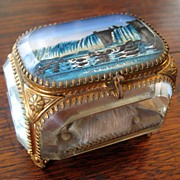 SALE Beveled Glass & Gilt Metal Jewel Box - Niagara Falls, Circa 1900