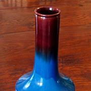SALE Japanese Awaji Pottery Vase On Rosewood Stand, Circa 1900