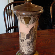 SALE Vintage Italian Reverse Glass Lamp, Circa 1920