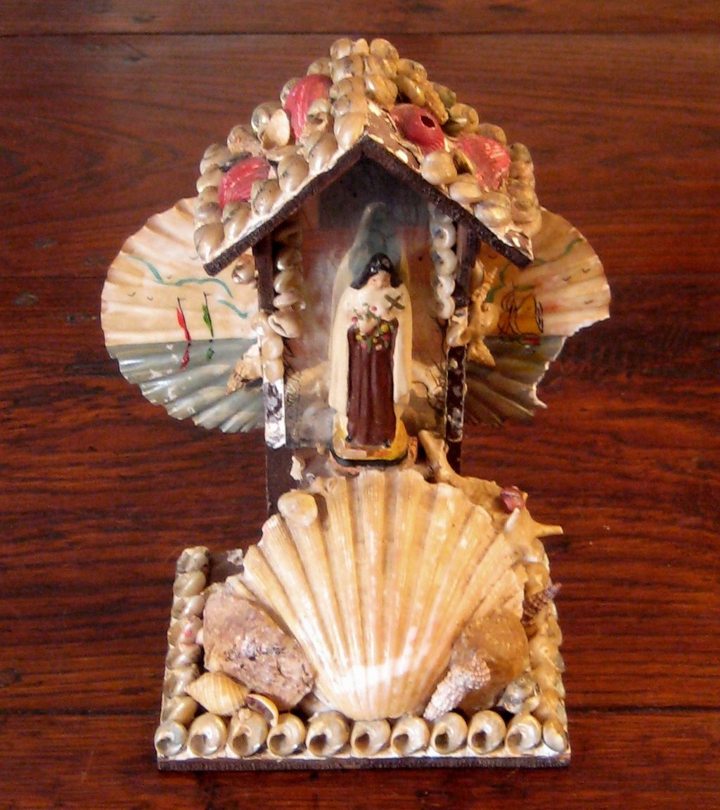 19th Century Spanish Shell Art Souvenir, Circa 1890