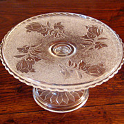 SALE Early American Pattern Glass Cake Stand, Circa 1890