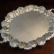 SALE Vintage Silver Plate Handled And Footed Serving Tray