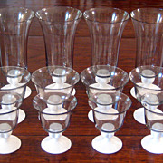 SALE Set Of 12 Mid-Century Modern Stemmed Glass Parfait , Circa 1950