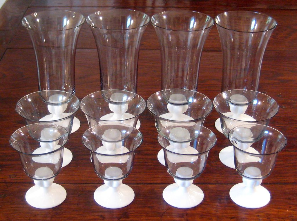 Set Of 12 Mid-Century Modern Stemmed Glass Parfait , Circa 1950