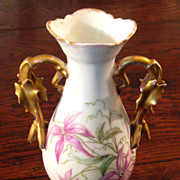 SALE 19th Century French Porcelain Clematis Vase With Gilt Handles