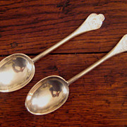 SALE Pair Of Very Decorative Vintage Silver Plate Anointing Spoons