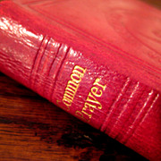 SALE 19th Century Red Leather Bound Book Of Common Prayer