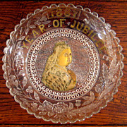 SALE Queen Victoria Commemorative Jubilee Glass Plate, 1887