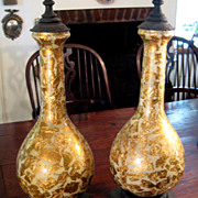 SALE Pair Of Mid-Century Modern Reverse Glass Gold Leaf Lamps