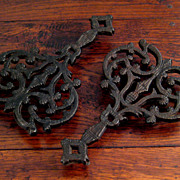 SALE Pair Of 19th Century Cast Iron Trivets