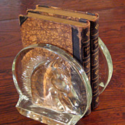 SALE Vintage Glass Horse Bookends, Circa 1960