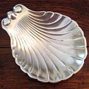 SALE Early Vintage Hotel Silver Scallop Shell Footed Dish